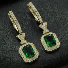 2 TCW Emerald & Diamond Yellow Gold Finish Drop Dangle Earrings For Women's Emerald Green Earrings, Diamond Hoop Earrings, Emerald Diamond, Diamond Studs, Women's Earrings, Gemstone Earrings, Sterling Silver Pendants, Dangles, Gemstones