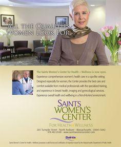 Saints Women's Center for Health + Wellness print ad.