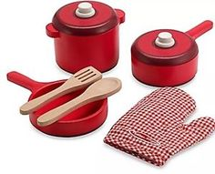 NEW Melissa & Doug Wooden Kitchen Accessory Set Red NEW  | eBay