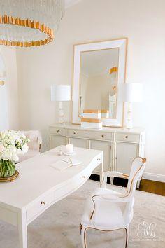 Glam Home Office Reveal – Randi Garrett Design white and gold home office glam office with desk Home Office Decor, Diy Home Decor, Room Decor, Diy Kids Furniture, Boutique Decor, Bright Homes, Home Decor Trends, Decor Ideas, Elegant Homes