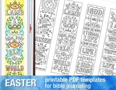EASTER - 4 Bible journaling printable templates, instant download illustrated christian faith bookmarks, black and white prayer journal bible verse traceable stencils, bible stickers.  ♥ Matthew 28:6 For He is risen, as He said ♥ John 1:29 The Lamb of God who takes away the sin of the world ♥ 1 John 5:11 God has given us eternal life, and this life is in His Son ♥ John 14:6 I am the way, the truth, and the life  PRINT-COLOR-CLUE in your journaling Bible. PRINT-TRACE-COLOR, use as a Template…