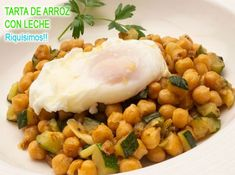 Sautéed chickpeas with zucchini and egg – Dinner Recipes Tasty Vegetarian Recipes, Healthy Dinner Recipes, Clean Eating Snacks, Healthy Eating, Snacks Sains, High Fiber Foods, Seafood Dinner, Small Meals, Good Healthy Snacks