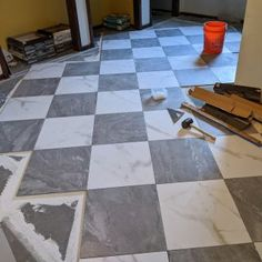 Travertine Tile, Tiling, Stone Tiles, Marble Bathroom Floor, Tile Floor, Floor Patterns, Tile Patterns, Checkerboard Floor, Polished Porcelain Tiles