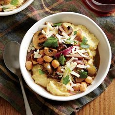 Creamy Polenta with Mushrooms, Chickpeas, and Olives - 29 Best Polenta Recipes  - Cooking Light