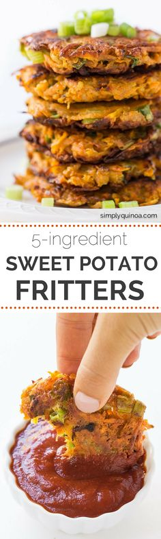 5-ingredient Sweet Potato Quinoa Fritters - a simple, fast and delicious side dish sauteed with coconut oil | recipe on simplyquinoa.com (Sweet Recipes Fast)