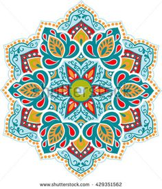 Drawing of a floral mandala in turquoise, red, blue and yellow colors on a white background