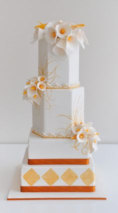 Wedding Cakes ~ I like all of the different shapes.  Give the gave more personality.  ᘡηᘠ
