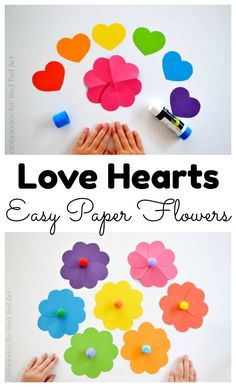 Love Heart Paper Flower craft a great Paper Valentine's Craft for Kids, as well as andorable little Mother's Day Craft