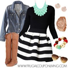 Fun Frugal Fashion Friday Black and White Dress Outfit. Take your LBD Little Black Dress from night to day. Details on Frugal Coupon Living Striped Skirt Outfit, White Dress Outfit, Stripe Skirt, Denim Outfit, Skirt Outfits, Cute Outfits, Aztec Skirt, Pleated Skirt, Dress Black