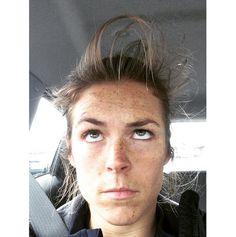Kelley O'Hara. 'Bit windy at practice today.' (Instagram)