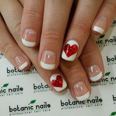 Valentine by Botanic Nails Love Nails, How To Do Nails, Pretty Nails, French Nails, Nails Factory, Nagellack Design, Botanic Nails, Valentine's Day Nail Designs, Nails Design