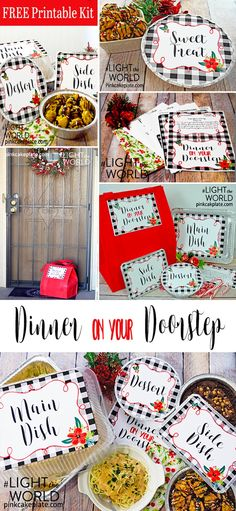 You will love these free dinner on your doorstep printables to help #LIGHTtheWORLD with dinner to a friend or neighbor. These printables will make delivering a dinner to someone in need easy and cute. Drop the dinner off secretly or openly but be sure to involve the whole family! Thanks to Pink Cake Plate for these printables.