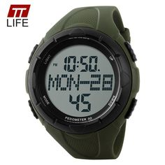 Military fashion Sports Watches Digital LED Pedometer Calories With Rubber Strap