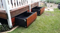An economical and clever storage solution which transforms the unused space under your patio into a sturdy and functional drawer. Easily harmonized: cover its exterior with the same covering as your deck and it blends into your decor. Supports a spread out load up to 250 pounds, it can store numerous articles: umbrellas, tires, toys, pool chemicals & accessories... Easy to open and close (even for a child) due to the ball-bearing slides and a metal handle (lockable)