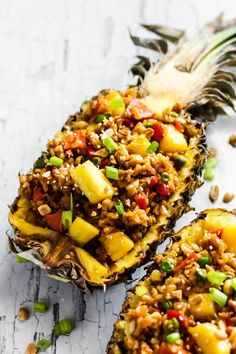Easy Pineapple Fried Rice (vegan & gluten-free) This Easy Pineapple Fried Rice is a fruity, wholesome version of your favorite take-out dish! It's a great weeknight meal that's vegan & gluten-free. Vegetarian Fried Rice, Vegetarian Recipes, Healthy Recipes, Healthy Nutrition, Nutrition Chart, Healthy Food, Child Nutrition, Nutrition Websites, Gf Recipes