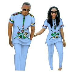 African Clothing Couples Top-Pants Sets for Lovers Bazin Riche Sweet Flower Patt