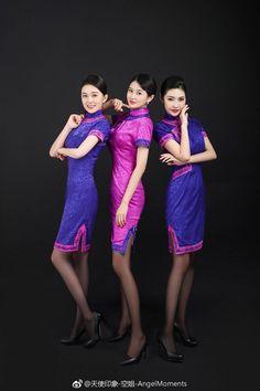 Airline Attendant, Flight Attendant, Airline Uniforms, Cheongsam Dress, Sexy Stockings, Female Images, Traditional Dresses, Beauty Women, Mini Skirts