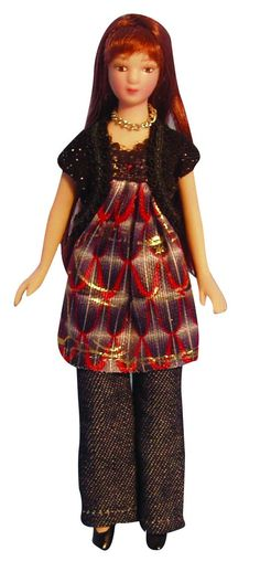 12th Scale Dolls House Porcelain Modern Woman In Smock Dress DP120 | Hobbies | Streets Ahead