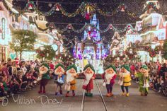 Disney's Seven Dwarfs. This photo features the Seven Dwarfs from Disney's version of Snow White. The dwarfs here are marching down Main Street, USA of Walt Disney World's Magic Kingdom theme park during the parade for Mickey's Very Merry Christmas Party. If I have the right, the Dwarfs from left to right are Happy, Sneezy, Bashful, Grumpy, Sleepy, Doc, and Dopey. Right behind the dwarfs is a float carrying Snow White and Prince Charming.