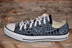 Items similar to Zentangle designs on Black Converse All Stars on Etsy Diy Converse, Converse Design, Black Converse, Converse Sneakers, Converse All Star, Vans, Black Canvas Shoes, Painted Canvas Shoes, Black Shoes