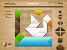 Tangram puzzle is a great educational tool for your child. This game will fascinate young players and help them improve dexterity, color recognition, memory, imagination and creativity, all while having fun. The game has a number of templates with pictures, based on a grid, and a bank of figures which are used to complete the picture tangram. #comboapp #choice