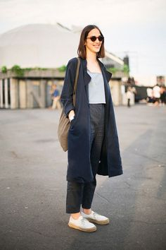 Street Spirit. Lace up loafers, ankle skimming pants, a simple grey vest and navy mac make a stylish yet comfortable sight seeing outfit in any city. #Mylifemystyle
