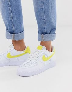 Shop the latest Nike Air Force sneakers in white and yellow trends with ASOS! Nike Air Force 1 Outfit, Nike Shoes Air Force, Sneakers Fashion, Sneakers Style, Sneakers Nike, Smart Casual Footwear, Teen Girl Shoes, Cute Nikes, Yellow Shoes