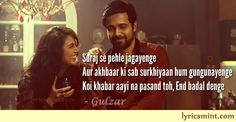 Yaaram lyrics by Gulzar from Ek Thi Daayan: The song Yaaram is composed by co-producer of Ek Thi Daayan – Vishal Bhardwaj and is sung by Sunidhi Chauhan and Clinton Cerejo and lyrics of yaaram are penned by none-other than Gulzar. Filmy Quotes, Pics For Dp, Bollywood Songs, Movie Quotes, Song Lyrics, Dp Pictures, Singing, Poems, Writing
