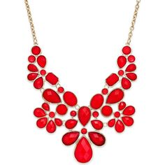 Style & co. Gold-Tone Red Stone Bib Necklace found on Polyvore featuring polyvore, fashion, jewelry, necklaces, accessories, red, red stone jewelry, style & co., red stone necklace and goldtone jewelry