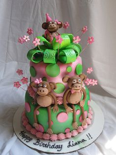 Monkey 1st birthday cake by Charley And The Cake Factory, via Flickr