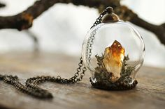 Miniature terrarium necklace Citrine crystal by RubyRobinBoutique