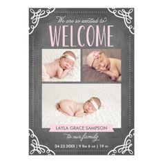 Baby Girl Announcement 3-Photo Welcome Chalkboard | Birth Announcement