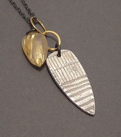 Spearhead, Gold Rutilated Quartz, Fine Silver, 14k Gold Fill, Oxidized Sterling Silver, Mixed Metals Necklace, erinelizabeth