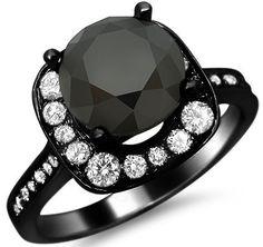 3.25ct Black Round Diamond Engagement Ring 18k Black Gold