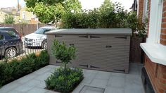 shed with flat grass roof - front garden