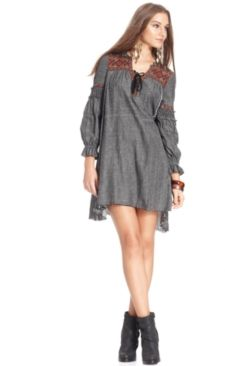 d7047be9d6 Free People Long-Sleeve Split-Neck Embroidered A-Line Dress Women - Dresses  - Macy s