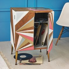 Geometric Painted Record Cabinet