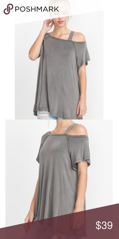 """🆕 Mineral Washed Off The Shoulder Tee MUST HAVE style of this summer season.  Color: Grey  ✂️Material: 95% Rayon, 5% Spandex   ❗️I DO reserve/hold items. Just ask, below, in the comment section.👇🏽  ⚪️Use the """"Buy Now"""" or """"Add to Bundle"""" button to purchase.  ⚪️MY PRICE IS FIRM. I DO NOT TRADE. I WILL NOT ACCEPT YOUR OFFER. Please respect my business. Thank you.❤️ Jaded Affairs Tops Tees - Short Sleeve"""