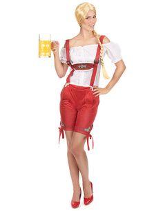 Kostüm als Tirolerin mit roten Shorts für Frauen: Diese Verkleidung als Tirolerin ist ideal für Frauen geeignet. Sie besteht aus einer Bluse und einer Shorts mit Hosenträgern (dabei sind der Krug Bier, der Hut und die Schuhe nicht...