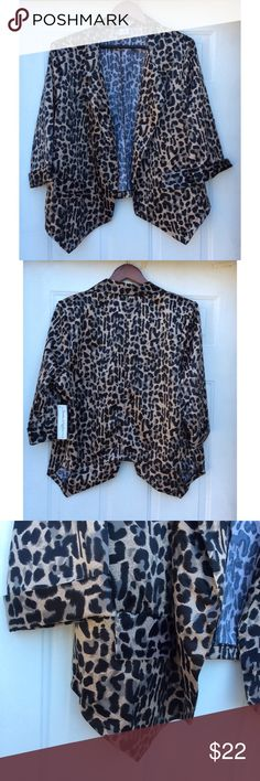 "Jamie Nicole Collection Blazer Jacket Animal Print Jamie Nicole collection blazer jacket in animal print.  It is new with tags.  Measures approx: 24.5"" Underarm to Underarm 24"" long (measured on back side middle) please  note front area is longer. Tag has a marker stain Jamie Nicole Jackets & Coats Blazers"