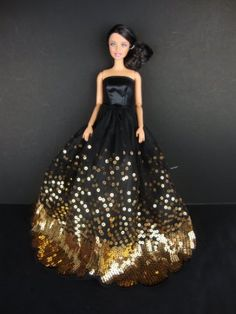 The Most Amazing Black Dress with Lots of Gold Sequins Made to Fit the Barbie Barbie Sized Doll