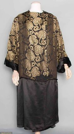 Black Satin & Gold Lame Coat, C. 1920. For upcoming vintage and antique clothing auction. #1920s #vintagefashion