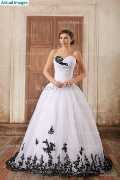 Wholesale 2013 Latest Black Lace Wedding Dresses White Sweetheart Brush Train Ball Gown Ruffle Organza Zipper, Free shipping, $161.36/Piece | DHgate