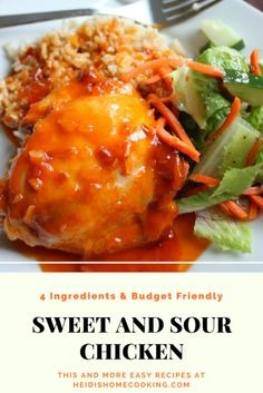 The recipe calls for just 4 simple ingredients and the baked chicken thighs Sweet And Sour Soup, Sweet N Sour Chicken, Baked Chicken, Sesame Chicken, Top Recipes, Cooking Recipes, Cooking Games, Simple Recipes, Cooking Classes