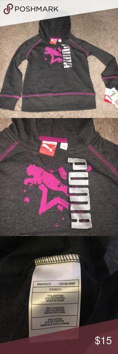 Girls puma hoodie NWT size 4 dark charcoal with pink PUMA Puma Shirts & Tops Sweaters