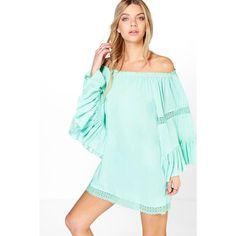 Boohoo Debbie Wide Sleeve Crochet Trim Bardot Dress (16 AUD) ❤ liked on Polyvore featuring dresses, green dress, wide dress, crochet trim dress, wide sleeve dress and sleeved dresses
