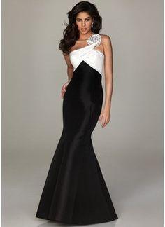 Trumpet/Mermaid One-Shoulder Floor-Length Taffeta Prom Dress With Ruffle Beading