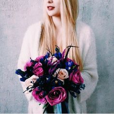 #girl #flowers #fashion #white #grey