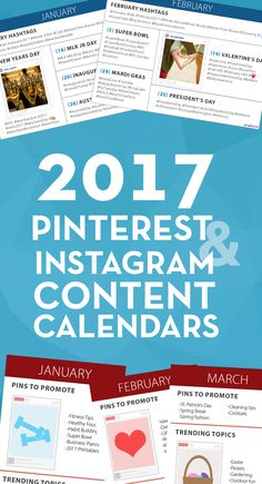 FREE Printables - 2017 Pinterest and Instagram Content Calendars! These clever printable PDF calendars help you to prepare your social media post for the seasonal trends and holidays that come up throughout the year. via @tailwind