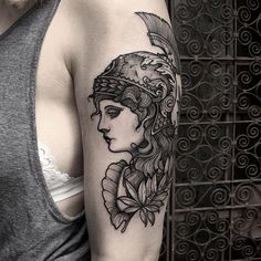 Greek Godess Athena with reef. Thankyou crystal. Done at @newyorkadorned #tattoo…